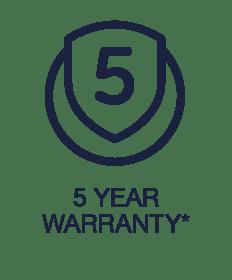 5 Year Warranty*